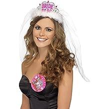 GenialES Disfraz Novia A Ser de Diadema con Velo Blanco Largo para Boda Ducha Nupcial Bride Horquillas Decorativas