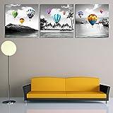 LA VIE 3 Teilig Wandbild Gemälde Heißluftballon Hochwertiger Leinwand Bilder Moderne Kunstdruck als Ölbild für Zuhause Wohnzimmer Schlafzimmer Küche Hotel Büro Geschenk