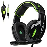 supsoo G813�3,5�mm Stereo Gaming Headsets Over-Ear-Kopfh�rer Headset mit Mikrofon f�r PS4�Neue Xbox One PC mit Ger�uschreduzierung und Lautst�rkeregler (schwarz & gr�n) Bild