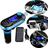 Transmetteur FM Fusiontech Transmetteur radio FM Adaptateur voiture Bluetooth Car Kit MP3 Player avec fonction mains libres, double sortie USB 5 V/2,1 A de charge, micro SD/TF Card Reader Slot, USB for iPod iPhone 6 6Plus 5 5S 5 C 4S 4 iPad, Samsung Galaxy S7 S6 S7 Edge S5 S4 S3 Note 3 2 HTC One M8 Sony Xperia Motorala Smartphones NOKIA