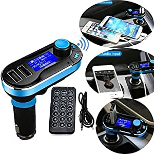 Fm Transmitter FusionTech® Bluetooth MP3 Player Car FM Transmitter Hands-free Car Kit Charger Support SD Card/USB for iPod iPhone 5 5S 5C 4S 4 iPad Samsung Galaxy S5 S4 S3 Note 3 2 HTC One M8 Sony Xperia Motorala Nokia Smartphones (Blue)