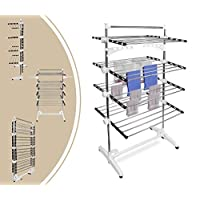 Leogreen - Laundry Drying Rack, Clothes Drying Stand, 4 shelves, Black/White, with wings and top bar, Material: Stainless steel tubes