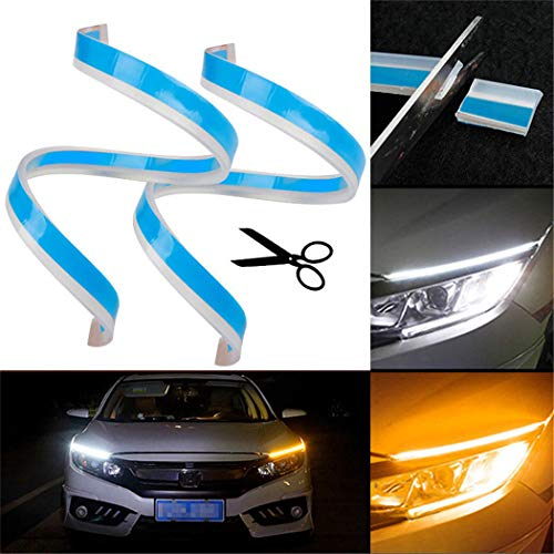 Drl Led Daytime Running Light Turn Signal Flash Flexible Strip Led Headlight Daytime Light 60cm High Power 12v White Yellow Automobiles & Motorcycles Car Light Assembly