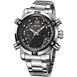 Alienwork DualTime Analogue-Digital Watch Chronograph LCD Wristwatch Multi-function Metal black silver OS.WH-5205G-06