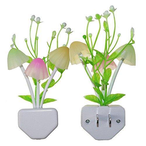 ODJOY-FAN LED Nachtlicht Lichtsteuerung Verfärbung Pilz Wassergras Klein Nachtlicht Romantisch Bunt Sensor LED Pilz Nacht Licht Wand Lampe Zuhause Dekor (Multicolor,1 PC)