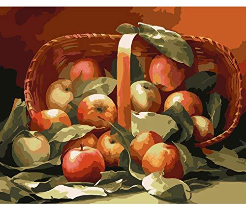 RFGED DIY Romantische Schöne Muster Malen Nach Zahlen Interessante Zeichnung Spiel Kinder Apple Korb Bild Cartoon Kunst Geschenk Wohnkultur Souvenir 40x50cm (Apple-geschenk-korb)