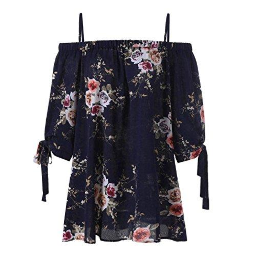 VEMOW Sommer Neue Mode Elegante Damen Mädchen Frauen Plus Größe Blumendruck Slash Neck Kalte Schulter Hailf Sleeve Bluse Casual Tops Camis Pullover Tees (Marine, EU-48/CN-3XL)