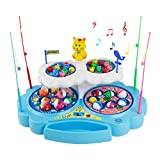 Z.X Juego de Pesca Eléctrica de Doble Capa con Música Ligera para Niños Incluye 4 Cañas y 34 Peces decuado para niños de 3 años o más