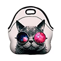 NobleQueen 2017 New Fashioin 3D Printed Women Lunch Bag Cartoon Unicorn Neoprene with Zipper for Picnic (Cool Cat)