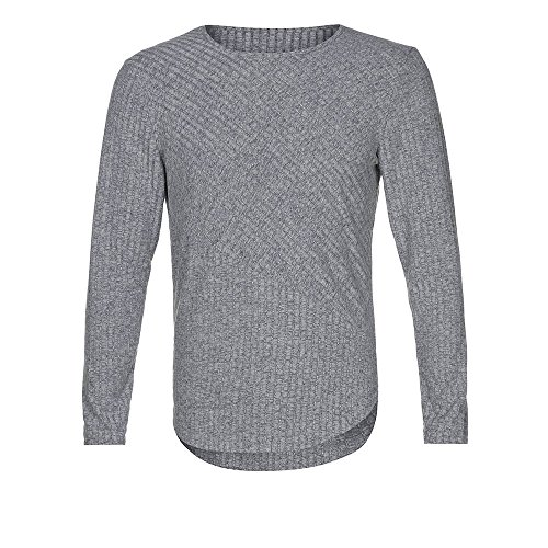 Subfamily top uomo,uomo sottile personalità casuale moda fossa striscia tinta unita cucitura girocollo manica lunga camicia top camicetta(grigio,l)