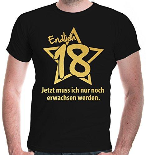 buXsbaum Herren T-Shirt Endlich 18 Jetzt muss ich nur noch erwachsen werden | Geburtstag Geschenk | M, Schwarz