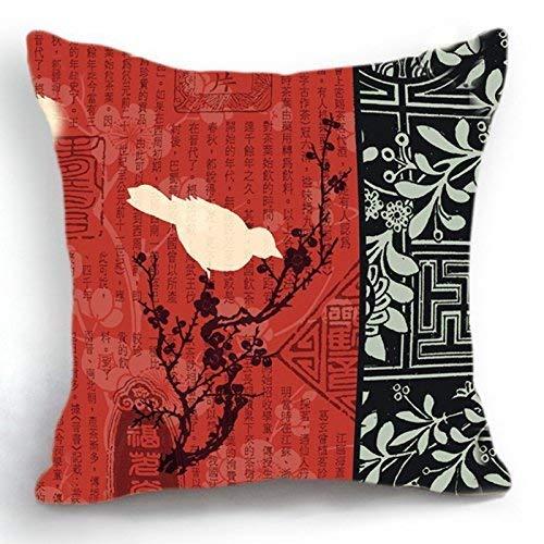 HOTNING Zierkissenbezüge, Throw Pillow Covers, Throw Pillow case, Cap Telisha Retro Style Oriental Chinese Red Black Bird Home Decor Throw Cushion Cover Pillow Case Sham 18