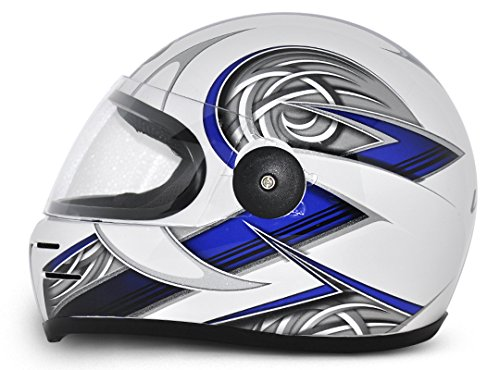 Vega Formula HP Warrior Full Face Graphic Helmet (White and Blue, M)