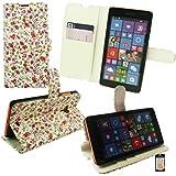 Emartbuy® Microsoft Lumia 535 / Lumia 535 Dual Sim Desktop Stand Wallet Case Cover Hülle Floral Rosa / Grün mit KRotitkartenfächern