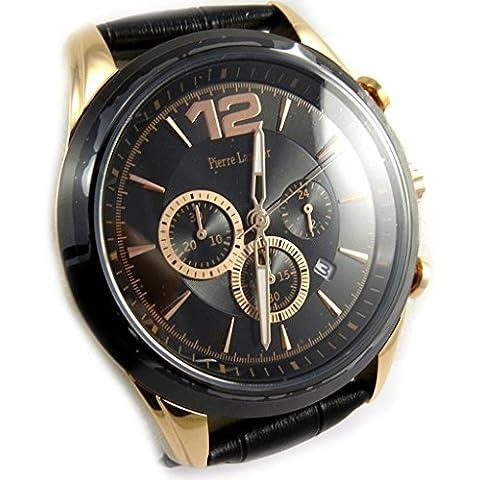 Relojes 'Pierre Lannier'de acero negro masculino aumentó cronómetro impermeable oro.