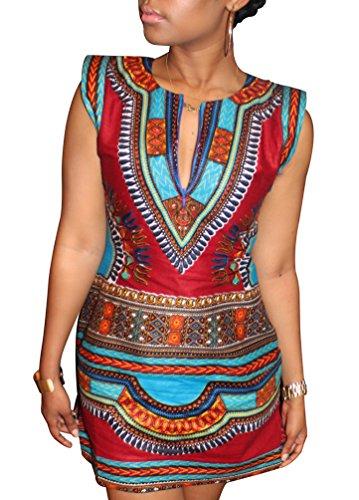 Yuncai Sommer Damen Casual Ärmelloses Traditionellen Gedruckt Bodycon V-Ausschnitt Dashiki Kleid