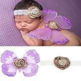 Anqeeso Baby Kleidung für Fotografie, Neugeborene Baby handgefertigt Schmetterling Flügel Fotografie Foto Prop Outfit passt Kleidung Haarband Set