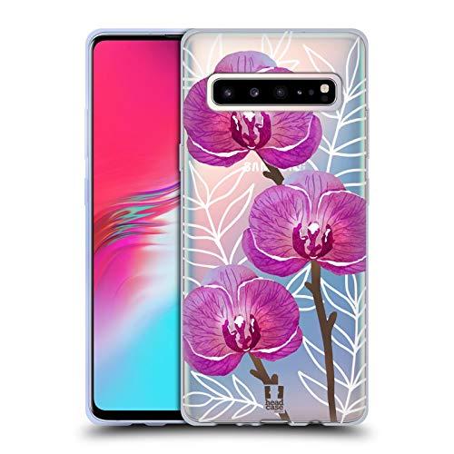 Head Case Designs Orchideen Aquarell Und Blumen 2 Soft Gel Huelle kompatibel mit Samsung Galaxy S10 5G -