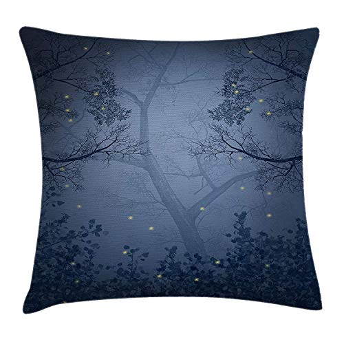 K0k2t0 Mystic Forest Decor Throw Pillow Cushion Cover, Fog Dark Gloomy Horror Mist Forest with Fairy Dragonflies on Branches Print, Decorative Square Accent Pillow Case, 18 X 18 Inches, Blue - Mist Fringe