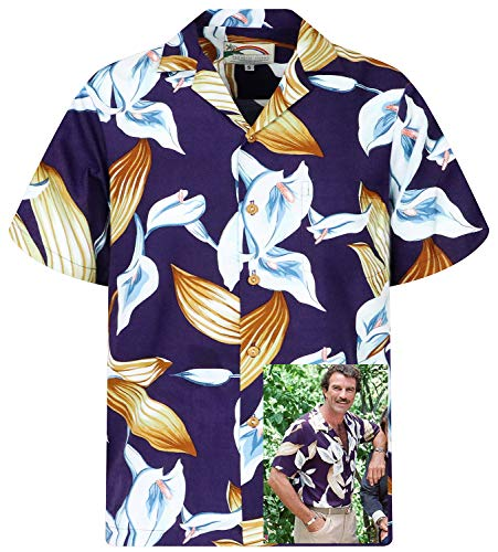 Tom Selleck Original Hawaiihemd, Kurzarm, Calla Lily, Violett, XXL