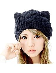 Demarkt Katze Ohren geformt Damen Mädchen häkeln stricken Ski Hut Warm Beanie Wollmütze Wintermütze Strickmütze