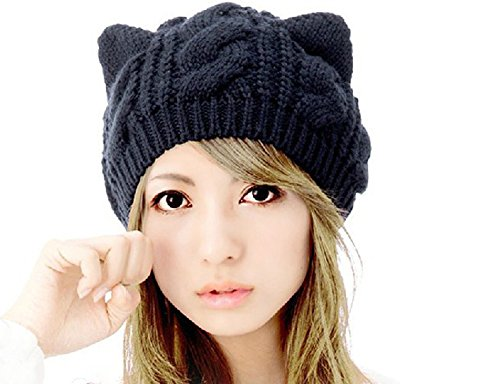 Demarkt Katze Ohren geformt Damen Mädchen häkeln Stricken Ski Hut Warm Beanie Wollmütze Wintermütze Strickmütze (Schwarz)