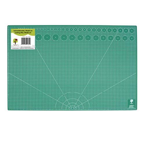 OfficeTree Set de estera para corte - 90x60 cm (A1) verde - Cuadrícula y marcas en ambos lados para un corte profesional - PVC reciblable con 5 capas superpuestas - Superficie autorregenerable