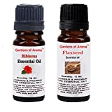 Gardens of Aroma - Hibiscus 10ml Essential Oils. Flaxseed Essential Oil 10ml, Luxurious and Premium, High Quality, and Undiluted, Organic and Therapeutic Grade - Exceptional Choice for Aromatherapy, Massage and Aroma Diffusers - Suitable for All Skin Types - Use for Hair Care and Skin Care.