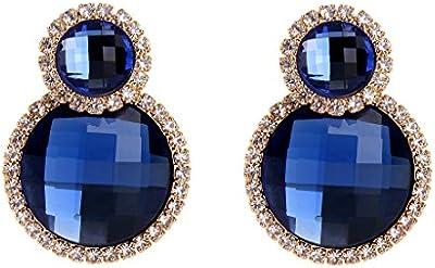 Clearine Mujeres Arteistic Fashion Cristal Double Circle Boda Nupcial Perforado Pendientess Oro-Tono Azul
