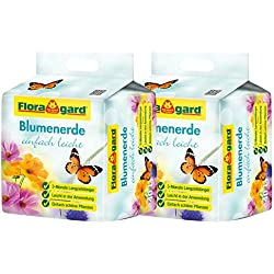 Floragard torfreduzierte Blumenerde einfach leicht 2x40 L • Universalerde • mit 3-Monate-Langzeitdünger für Balkon-, Kübel- und Zimmerpflanzen • mit dem Naturdünger Guano • 80 L