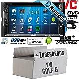 VW Golf 6 VI - Autoradio Radio JVC KW-V235DBTE - DVD | Bluetooth | DAB+ | CD | MP3 | USB | Android | iPhone | 2-Din - Einbauzubehör - Einbauset