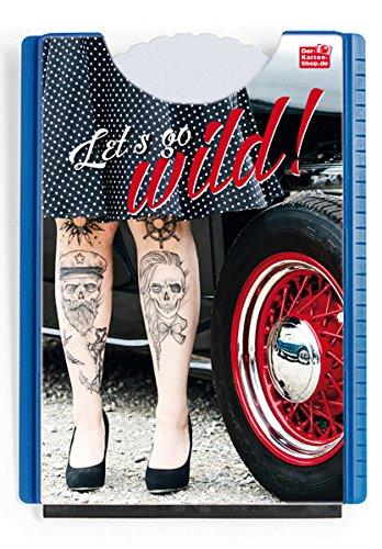 Der-Karten-Shop.de Fun Spaß Motiv Parkscheibe mit Eiskratzer und Gummilippe Frau im Petticoat, Tätowierte Beine, Oldtimer Let's go Wild