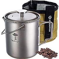 Bestargot - Taza de titanio para acampada al aire libre con bolsa de aislamiento, prensa francesa Titan Camping Vajilla de café lata, taza de café al aire libre, gran capacidad