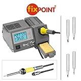 5-teiliger Set : Fixpoint Digitale Lötstation mit 4 unterschiedlichen Extra-Lötspitzen; Lötstation mit Lötkolben, Ständer und Schwamm; 48W; 450°; LCD Display beleuchtet; Lötkolben abschraubbar; extrem kurze Aufheizzeit