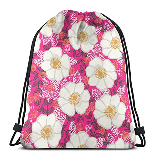 vintage cap Flowers Pink Girls Cute Girly Sweet Florals Flowers_23179 3D Print Drawstring Backpack Rucksack Shoulder Bags Gym Bag for Adult 16.9