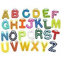 STRIR 26 Piezas Niños Aprendizaje temprano Divertido de Madera Imán de Nevera Alfabeto Letras de la A a la Z