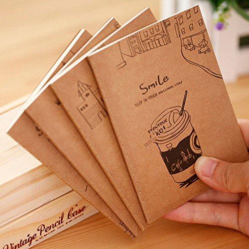 EQLEF® 5pcs / lot de dibujos animados retro mezclado modelo pequeño cuaderno