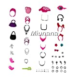 Miunana 40 piezas Conjunto Completo de Accesorios Fashion Bolso Gafas de sol Zapatos Collar Accesorios de Joyería Selección Aleatoria para Regalo Muñeca Barbie