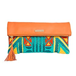 Chumbak Carnival Tent Foldover Clutch- Orange