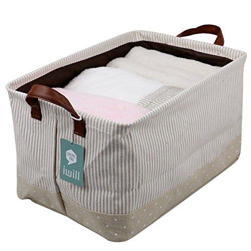 Aufbewahrungskörbe, 100% Baumwolle. Für Baby-Speicher u. Spielzeug-Organisator. Kinderkörbe, Regallagerbehälter (Beige)