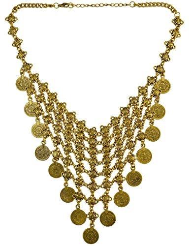 Pashal - Girocollo in stile etnico, in maglia di metallo, stile tribale, con monete e lega, colore: oro, cod. me
