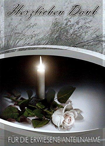 Trauer Danksagungskarten Trauerkarten ohne Innentext Motiv Kerze weiße Rose 10 Klappkarten DIN A6 mit weißen Umschlägen im Set Dankeskarten Dankeschön Karten Kuvert Danke sagen Beileid K127