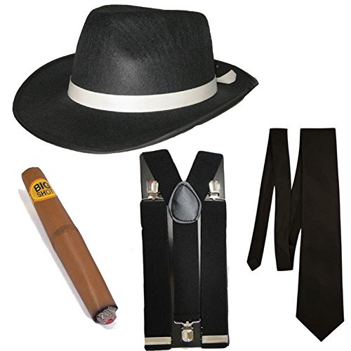Gangster Fancy Dress 4 Stück Kostüm (Schwarz) (Gangster Kostüme)