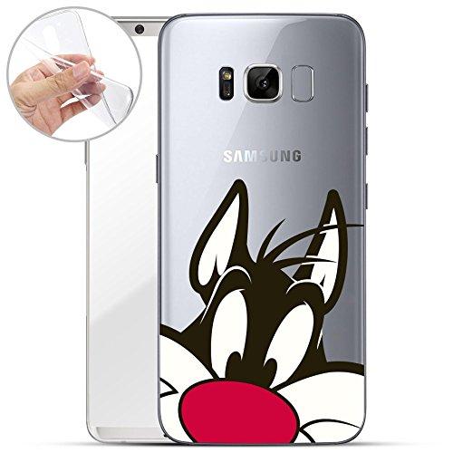Finoo Samsung Galaxy S8 Weiche flexible lizensierte Silikon-Handy-Hülle   Transparente TPU Cover Schale mit Looney Tunes Motiv   Tasche Case mit Ultra Slim Rundum-schutz   Silvester Close Up 2