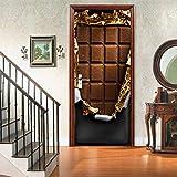 ZLRNAD Kreative 3D Türen Pralinen Tür Aufkleber Poster Selbstklebende DIY Dekorative wasserdichte Wandtattoo Wandbilder Tapete Auf Tür Türaufkleber