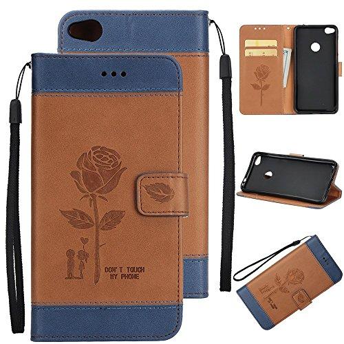 EKINHUI Case Cover Gemischte Farben Rose Blume matt Premium PU Leder Brieftasche Stand Case Cover mit Lanyard & Card Slots für Huawei P8 Lite 2017 ( Color : Blue ) Brown