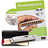 CASCHA Beginners Set with Dutch School, Blues Harmonica Learn to Play with Case, Care Cloth and Instruction Book, C Major Harmonica Silver