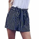 Doublehero Damen Sommer Lose Freizeit Shorts Lässige Strand Hohe Taille Modische Bow Hosen Reizvoller Kurze Hosen Gestreiftes Volant Hotpants mit Gürtel