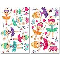 Samunshi® 25 Piece Ballerina Princess Wall Art Sticker, multicoloured 2x 21x34cm