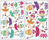 Samunshi® 25-teiliges Ballerina Wandtattoo Set Prinzessin Wandsticker in 5 Größen (2x16x26cm Mehrfarbig)